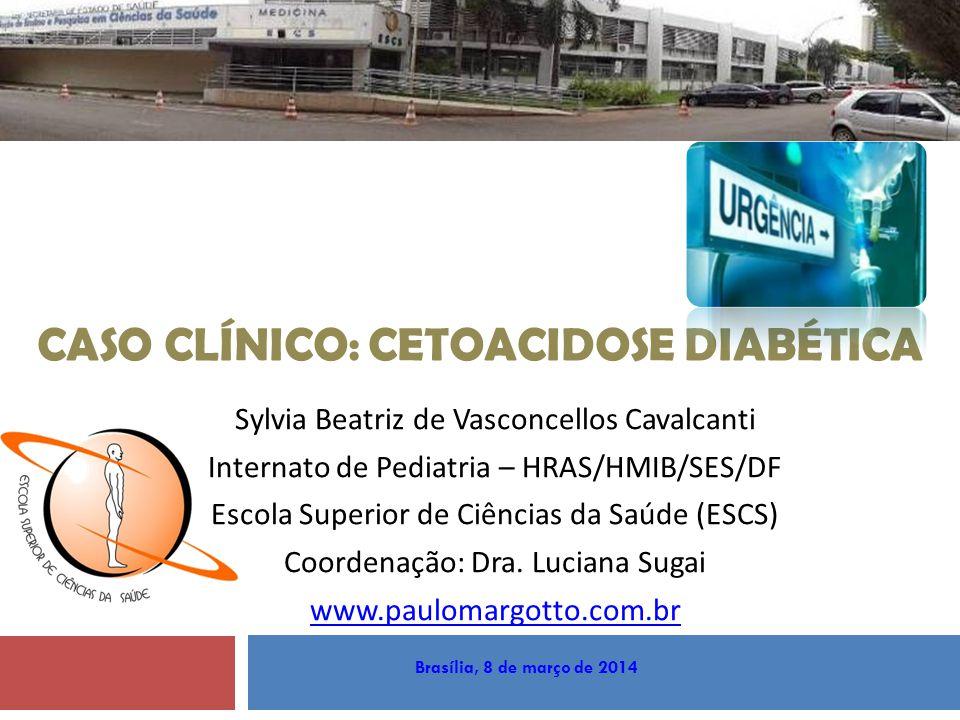 TRATAMENTO Insulinoterapia Apesar da reidratação, a insulinoterapia é essencial para normalizar níveis glicêmicos e interromper lipólise e cetogênese Iniciar infusão de insulina 1-2 horas DEPOIS do início da reposição hídrica dose: 0.1 U/kg/h de insulina regular por via endovenosa Insulina inicial em bolus não é necessária!!.