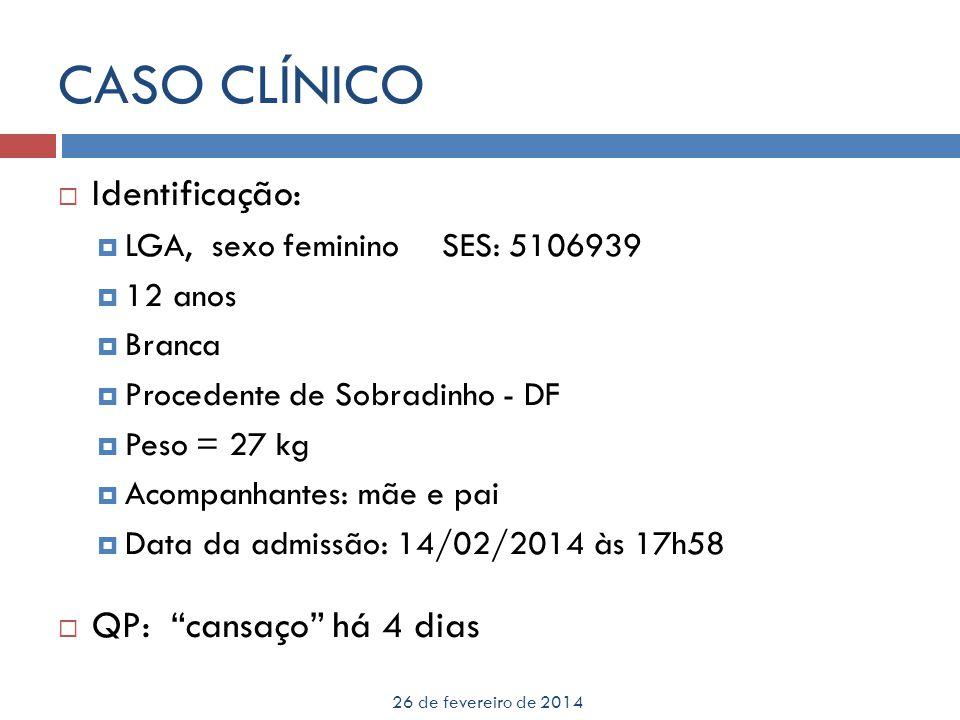 CASO CLÍNICO 26 de fevereiro de 2014 Identificação: LGA, sexo femininoSES: 5106939 12 anos Branca Procedente de Sobradinho - DF Peso = 27 kg Acompanha