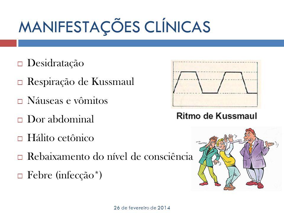 MANIFESTAÇÕES CLÍNICAS 26 de fevereiro de 2014 Desidratação Respiração de Kussmaul Náuseas e vômitos Dor abdominal Hálito cetônico Rebaixamento do nív
