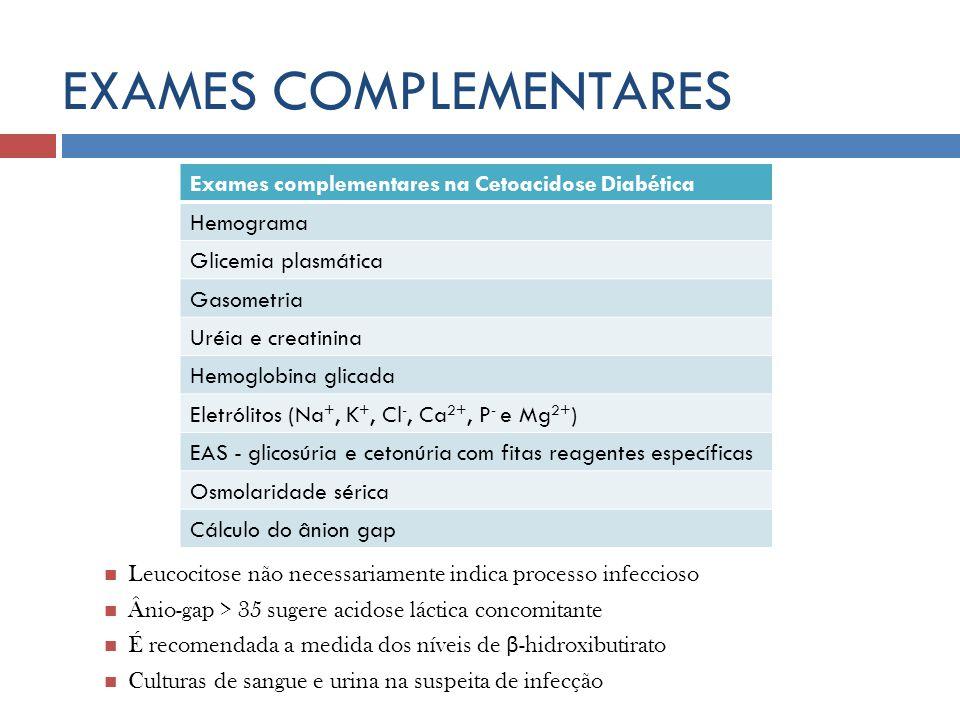 EXAMES COMPLEMENTARES Leucocitose não necessariamente indica processo infeccioso Ânio-gap > 35 sugere acidose láctica concomitante É recomendada a med
