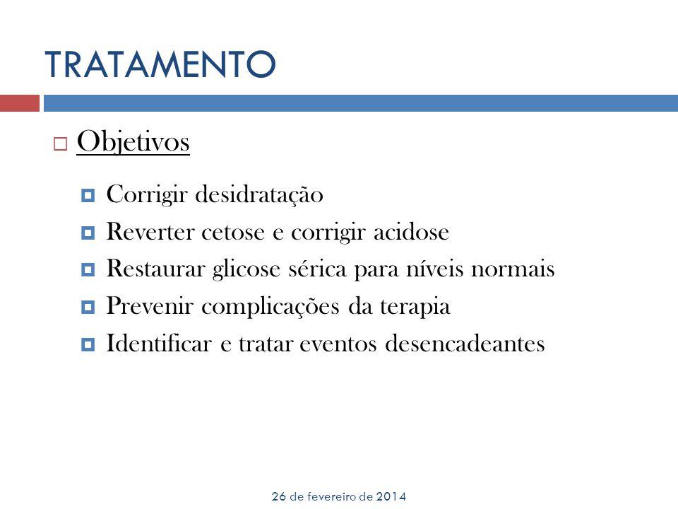 TRATAMENTO 26 de fevereiro de 2014 Objetivos Corrigir desidratação Reverter cetose e corrigir acidose Restaurar glicose sérica para níveis normais Pre
