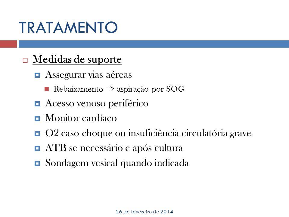 26 de fevereiro de 2014 Medidas de suporte Assegurar vias aéreas Rebaixamento => aspiração por SOG Acesso venoso periférico Monitor cardíaco O2 caso c