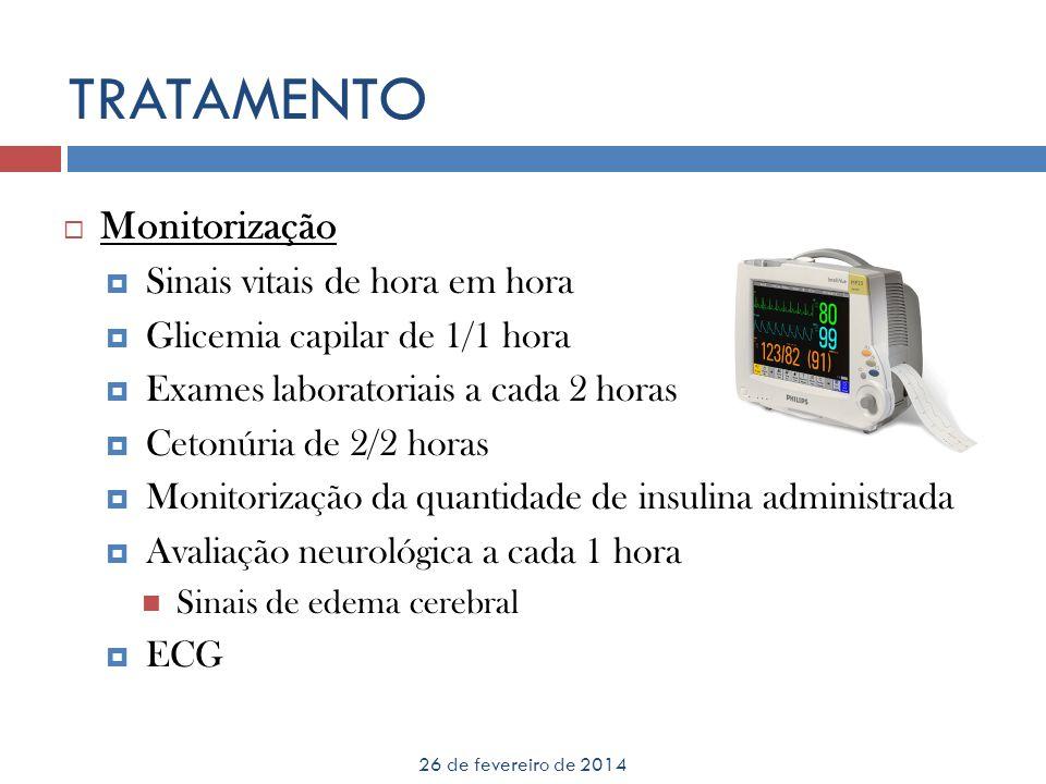 TRATAMENTO 26 de fevereiro de 2014 Monitorização Sinais vitais de hora em hora Glicemia capilar de 1/1 hora Exames laboratoriais a cada 2 horas Cetonú
