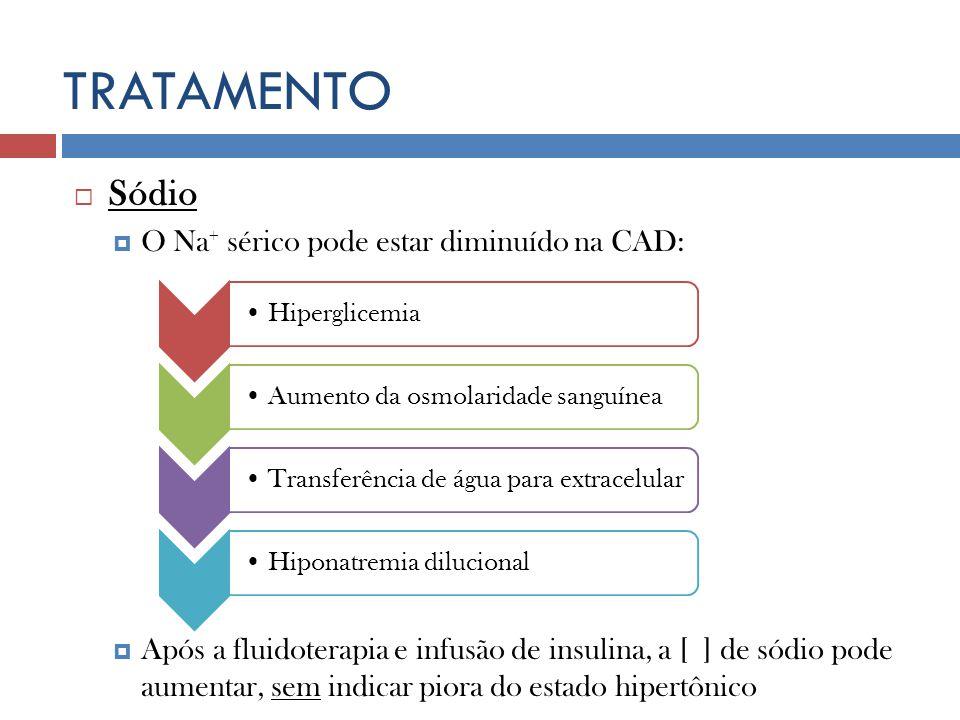 HiperglicemiaAumento da osmolaridade sanguíneaTransferência de água para extracelularHiponatremia dilucional TRATAMENTO Sódio O Na + sérico pode estar