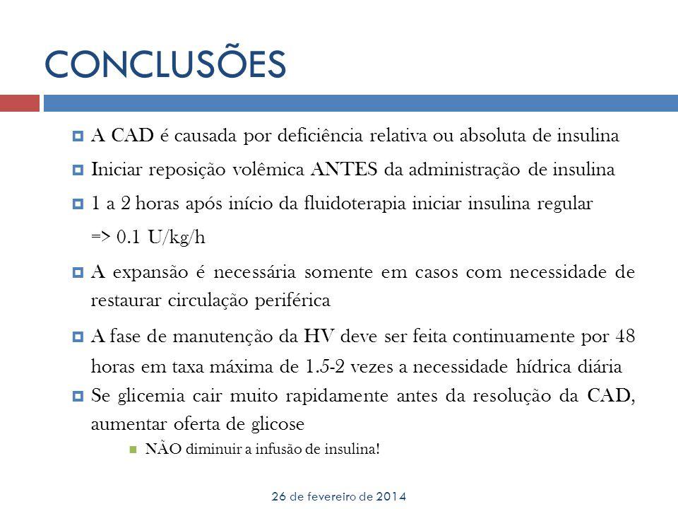 CONCLUSÕES 26 de fevereiro de 2014 A CAD é causada por deficiência relativa ou absoluta de insulina Iniciar reposição volêmica ANTES da administração