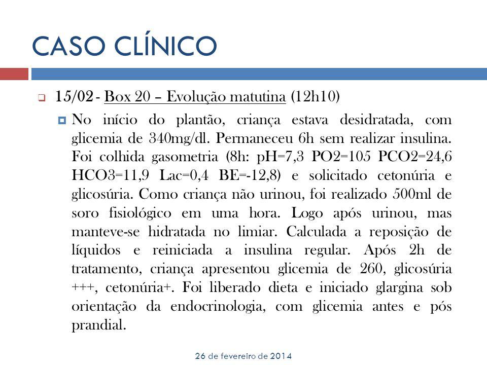 CASO CLÍNICO 26 de fevereiro de 2014 15/02 - Box 20 – Evolução matutina (12h10) No início do plantão, criança estava desidratada, com glicemia de 340m