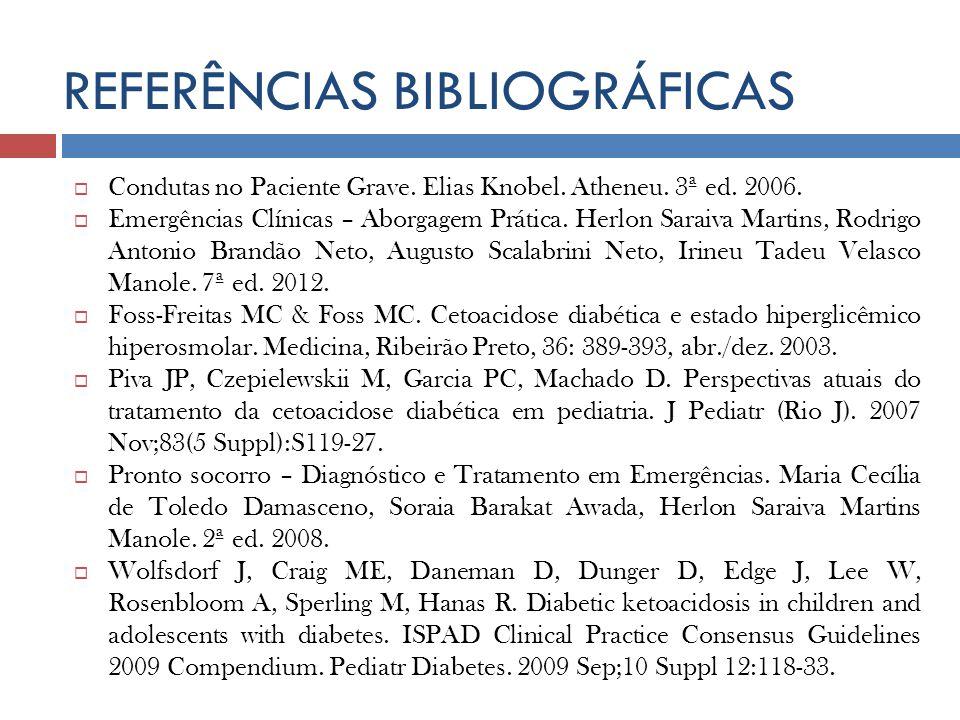 REFERÊNCIAS BIBLIOGRÁFICAS Condutas no Paciente Grave. Elias Knobel. Atheneu. 3ª ed. 2006. Emergências Clínicas – Aborgagem Prática. Herlon Saraiva Ma