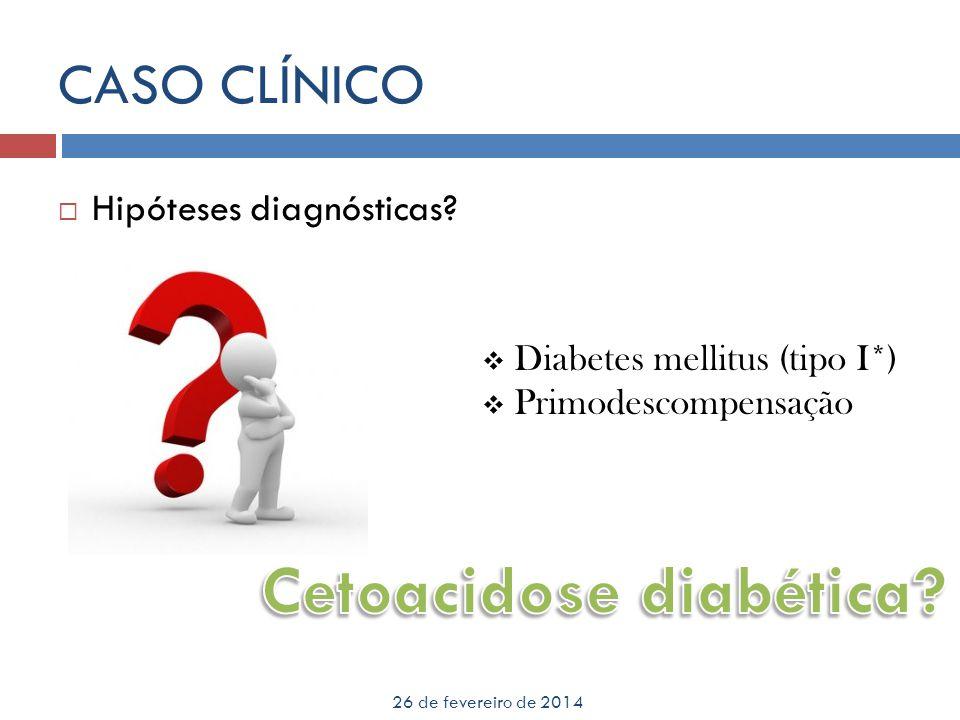 CASO CLÍNICO 26 de fevereiro de 2014 Às 23h13: Dx 276mg/dl ; cetonúria 3+; glicosúria +2 Realizar insulina regular 0.1mg/kg UI IM, agora Repetir Dx, glicosúria e cetonúria com 1h Às 0h37 Dx 293 mg/dl; cetonúria +2; glicosúria +2 Como houve melhora da cetonúria (cetonúria <+3) não realizar insulina regular, por hora Segue com controle rigoroso 1/1h de Dx, glicosúria e cetonúria Às 2h06: Dx 332mg/dl; cetonúria +2; glicosúria +3 Como Dx > 300, fazer insulina regular 0.1UI/Kg Segue com controle de Dx, glicosúria e cetonúria