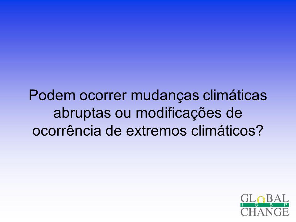 Podem ocorrer mudanças climáticas abruptas ou modificações de ocorrência de extremos climáticos?