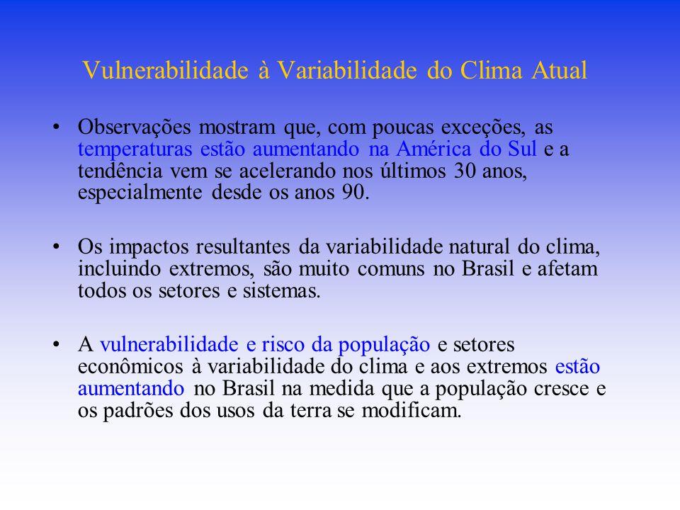 Vulnerabilidade à Variabilidade do Clima Atual Observações mostram que, com poucas exceções, as temperaturas estão aumentando na América do Sul e a te