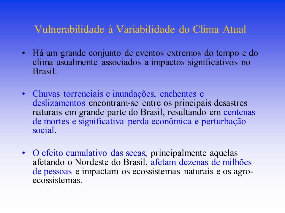 Vulnerabilidade à Variabilidade do Clima Atual Há um grande conjunto de eventos extremos do tempo e do clima usualmente associados a impactos significativos no Brasil.