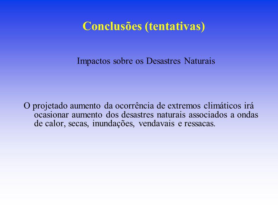 Conclusões (tentativas) Impactos sobre os Desastres Naturais O projetado aumento da ocorrência de extremos climáticos irá ocasionar aumento dos desast
