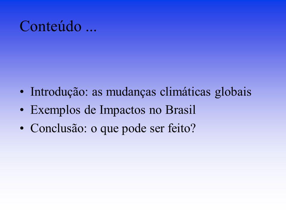 Conteúdo... Introdução: as mudanças climáticas globais Exemplos de Impactos no Brasil Conclusão: o que pode ser feito?