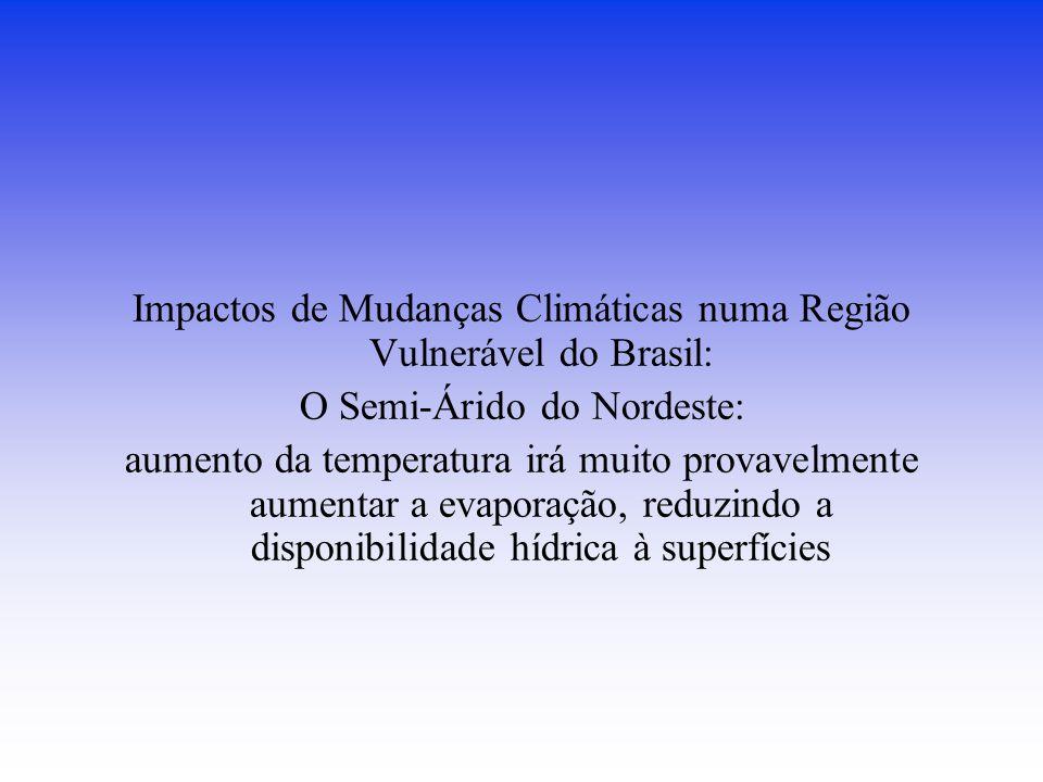 Impactos de Mudanças Climáticas numa Região Vulnerável do Brasil: O Semi-Árido do Nordeste: aumento da temperatura irá muito provavelmente aumentar a evaporação, reduzindo a disponibilidade hídrica à superfícies