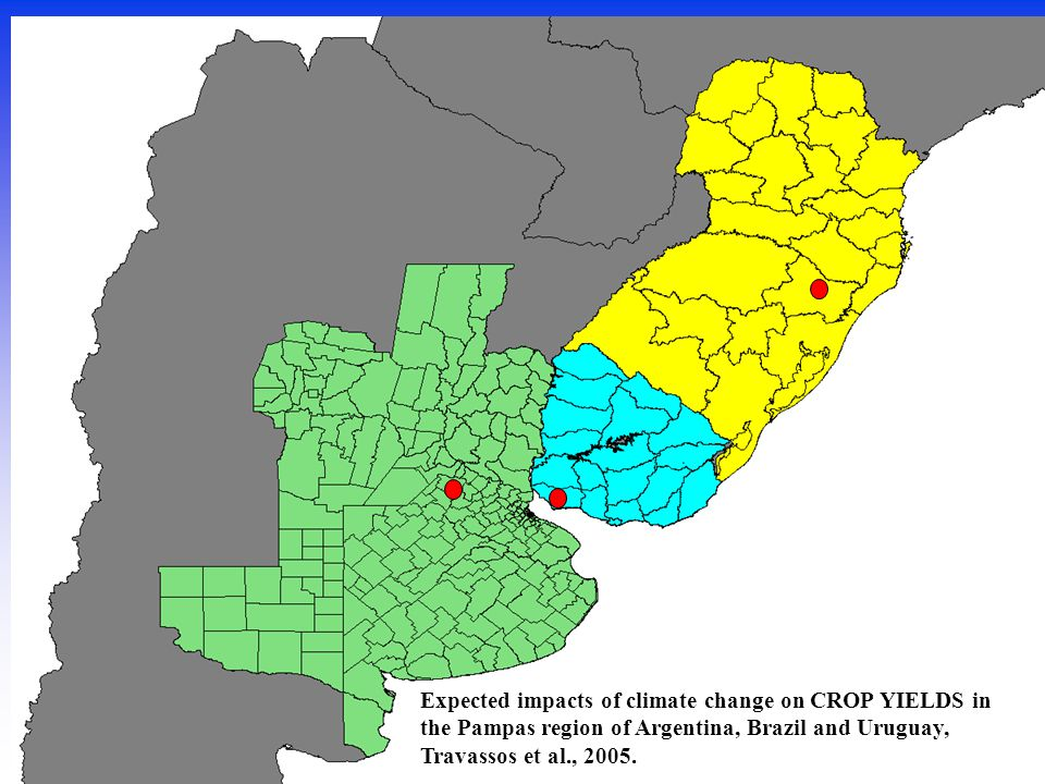 Expected impacts of climate change on CROP YIELDS in the Pampas region of Argentina, Brazil and Uruguay, Travassos et al., 2005.