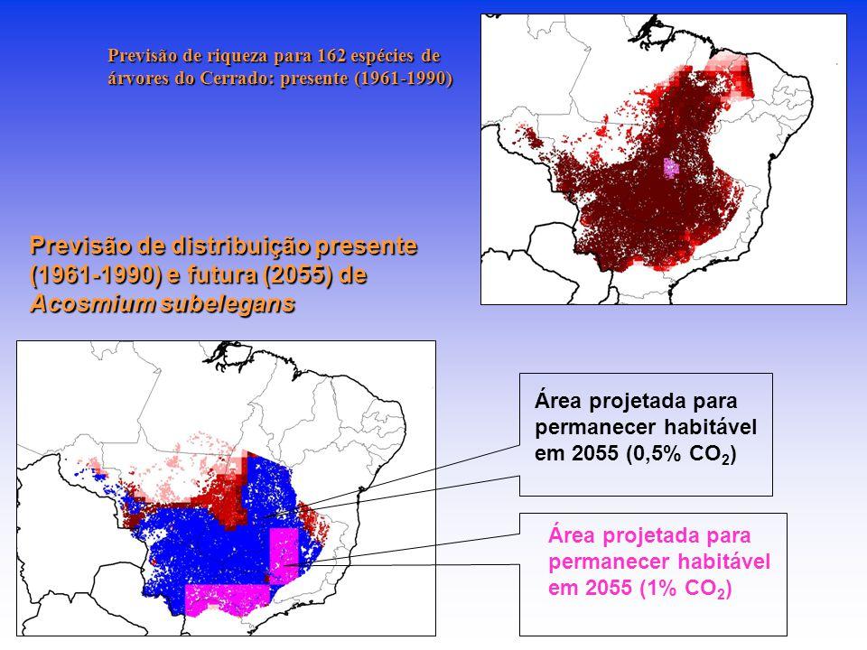 Previsão de distribuição presente (1961-1990) e futura (2055) de Acosmium subelegans Área projetada para permanecer habitável em 2055 (1% CO 2 ) Área projetada para permanecer habitável em 2055 (0,5% CO 2 ) Previsão de riqueza para 162 espécies de árvores do Cerrado: presente (1961-1990)