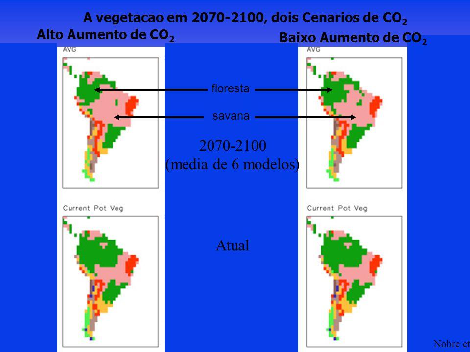 savana floresta A vegetacao em 2070-2100, dois Cenarios de CO 2 Alto Aumento de CO 2 Baixo Aumento de CO 2 Atual 2070-2100 (media de 6 modelos) Nobre et al.