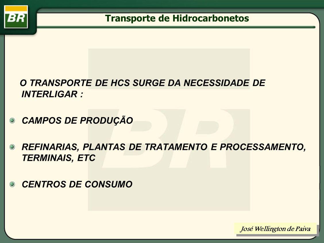 Transporte de Hidrocarbonetos CONDICIONAMENTO PARA TRANSPORTE DE HIDROCARBONETOS José Wellington de Paiva