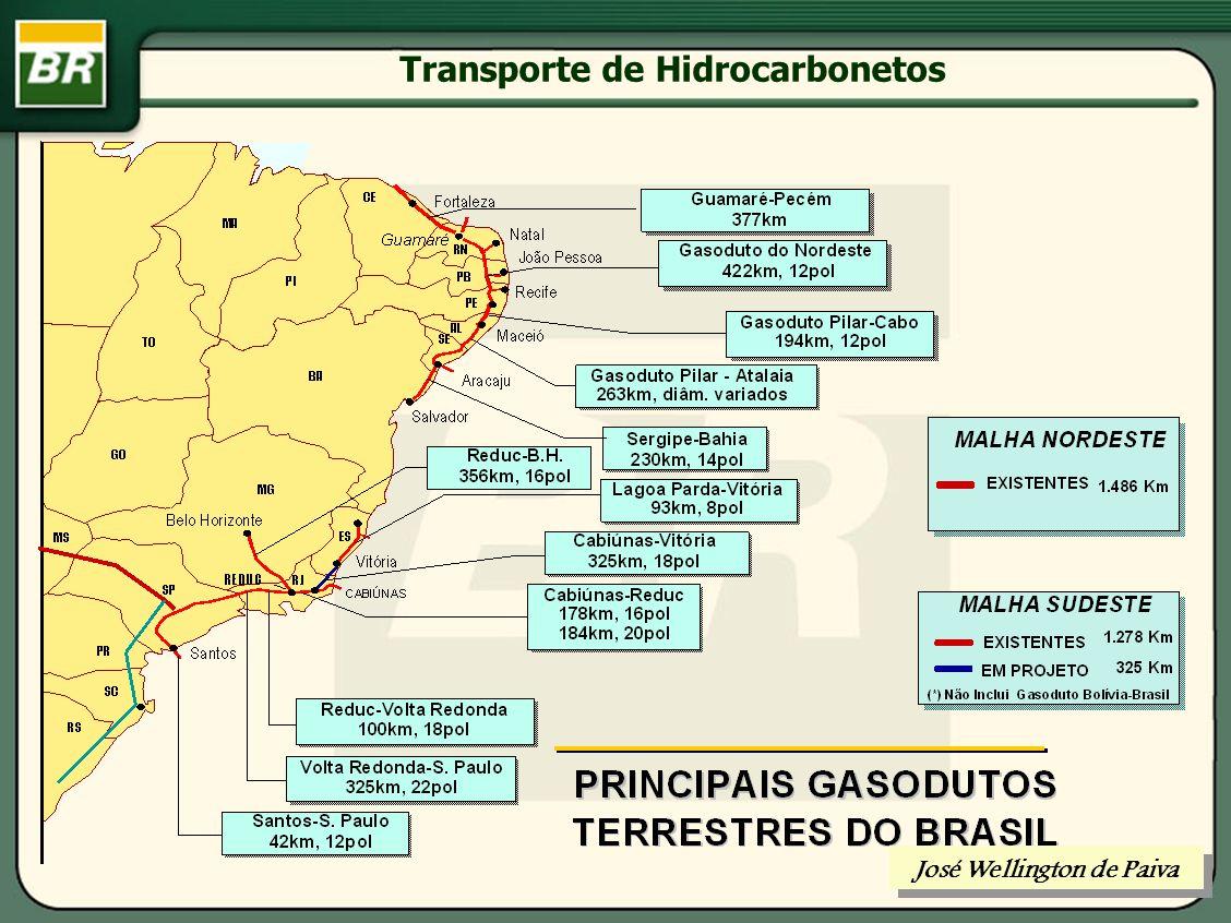 Transporte de Hidrocarbonetos MODOS DE TRANSPORTE DO GÁS NATURAL: FASE GASOSA (DUTOS OU RESERVATÓRIOS PRESSURIZADOS) FASE LÍQUIDA (GAS NATURAL LIQUEFEITO) José Wellington de Paiva