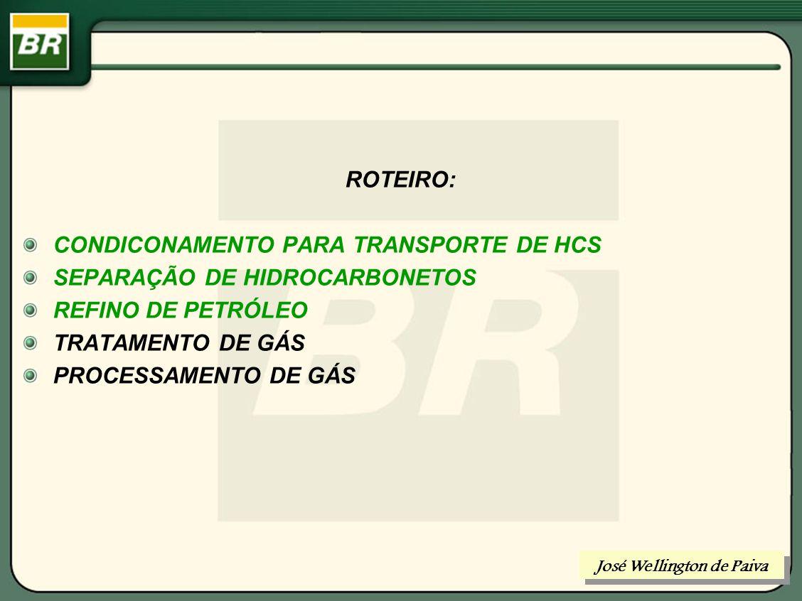 Refino de Petróleo CONDICIONAMENTO PARA REFINO: DESIDRATAÇÃO DESSALINIZAÇÃO José Wellington de Paiva