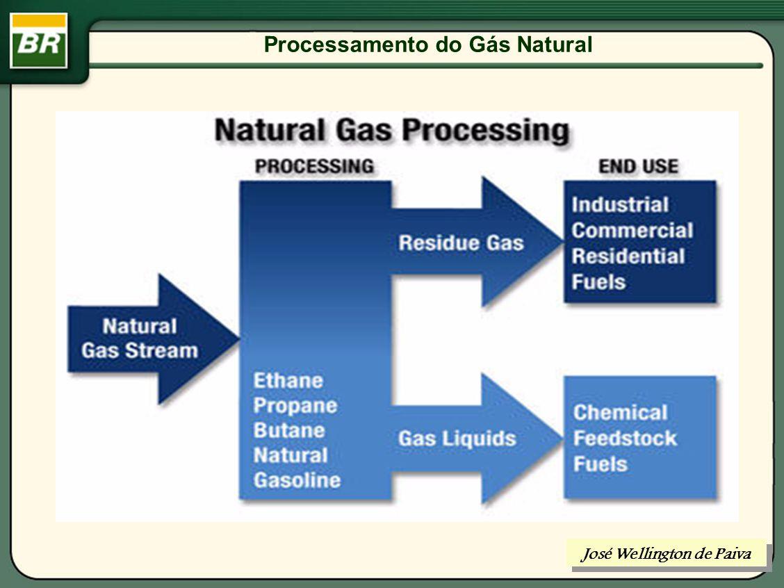 Processamento do Gás Natural COMPONENTES DO GÁS NATURAL: GASES INERTES: CO 2 e N 2 GASES ÁCIDOS: CO 2, e H 2 S, R-SH, COS e CS 2 HIDROCARBONETOS ALIFÁTICOS : C n H n+2 José Wellington de Paiva
