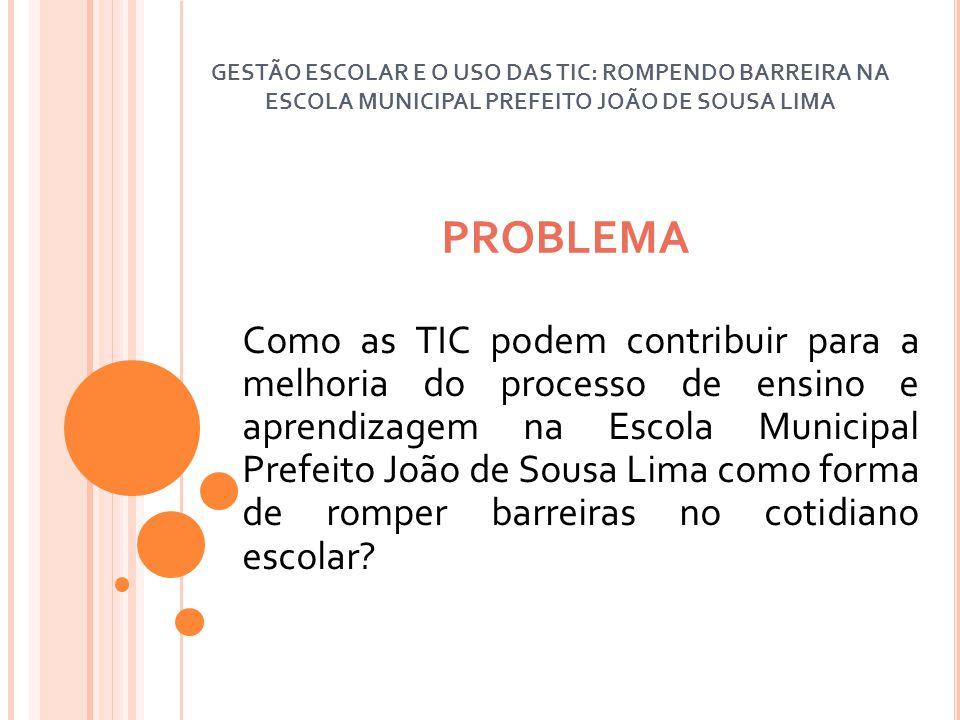 OBJETIVO GERAL Dinamizar o uso das tecnologias existentes na Escola Municipal Prefeito João de Sousa Lima em prol da melhoria do processo de ensino e aprendizagem.