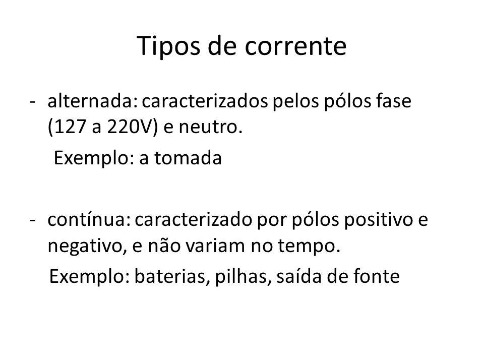 Tipos de corrente -alternada: caracterizados pelos pólos fase (127 a 220V) e neutro. Exemplo: a tomada -contínua: caracterizado por pólos positivo e n