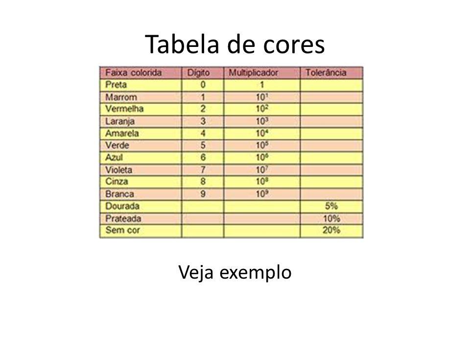 Tabela de cores Veja exemplo