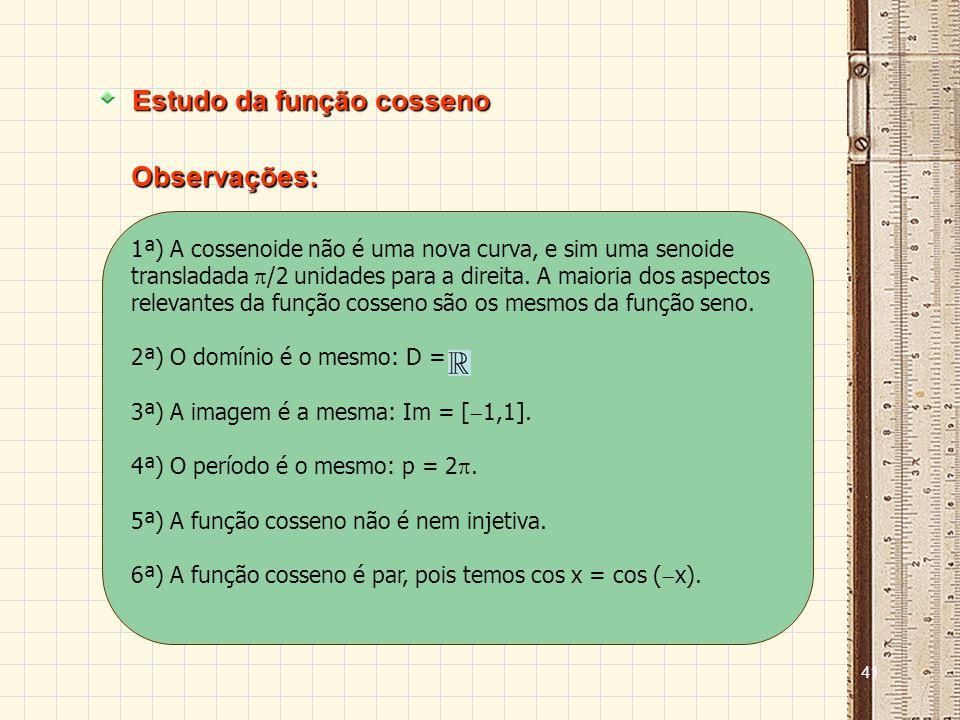40 Estudo da função cosseno f(x) = cos x xcos x 0 /6 /4 /3 /2 2 /3 3 /4 5 /6 7 /6 5 /4 4 /3 3 /2 5 /3 7 /4 11 /6 2