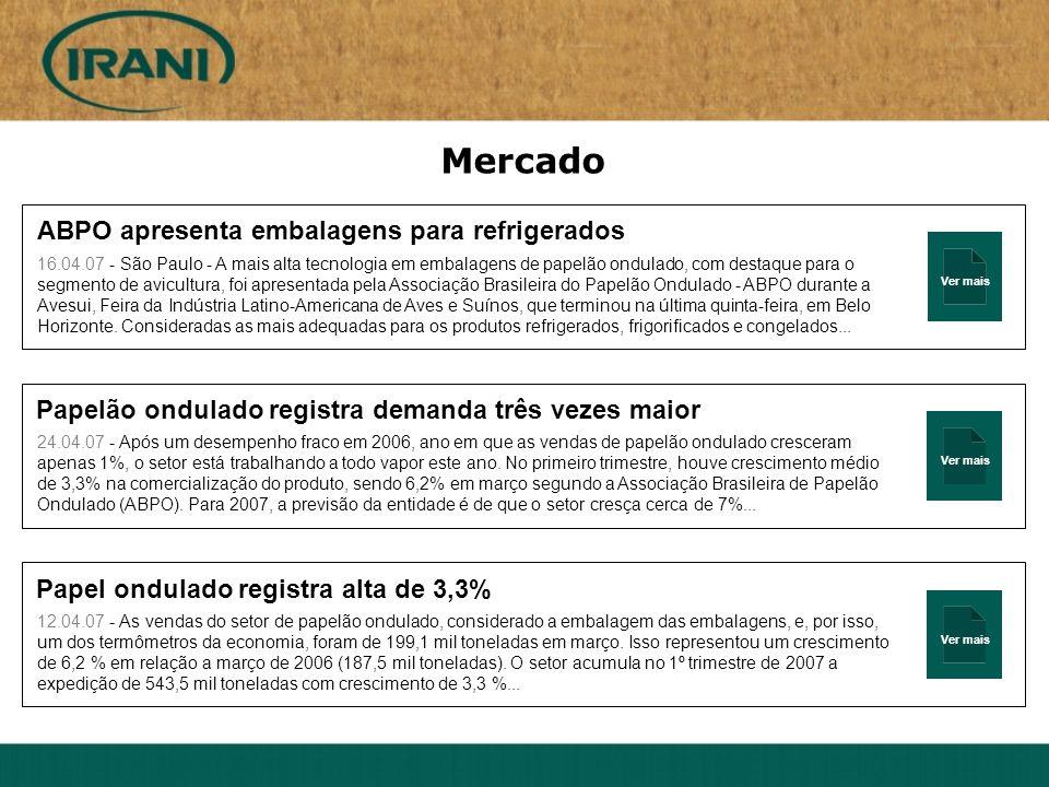 Ver mais Mercado ABPO apresenta embalagens para refrigerados 16.04.07 - São Paulo - A mais alta tecnologia em embalagens de papelão ondulado, com dest