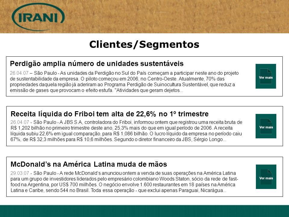 Ver mais Clientes/Segmentos Perdigão amplia número de unidades sustentáveis 26.04.07 – São Paulo - As unidades da Perdigão no Sul do País começam a pa