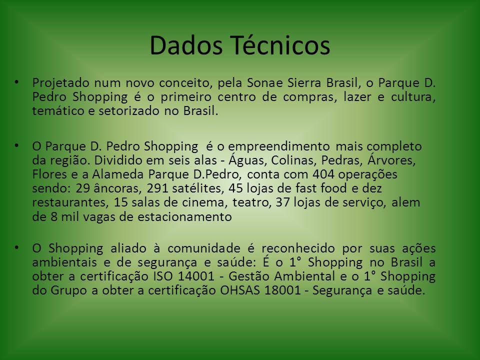 Dados Técnicos Projetado num novo conceito, pela Sonae Sierra Brasil, o Parque D. Pedro Shopping é o primeiro centro de compras, lazer e cultura, temá
