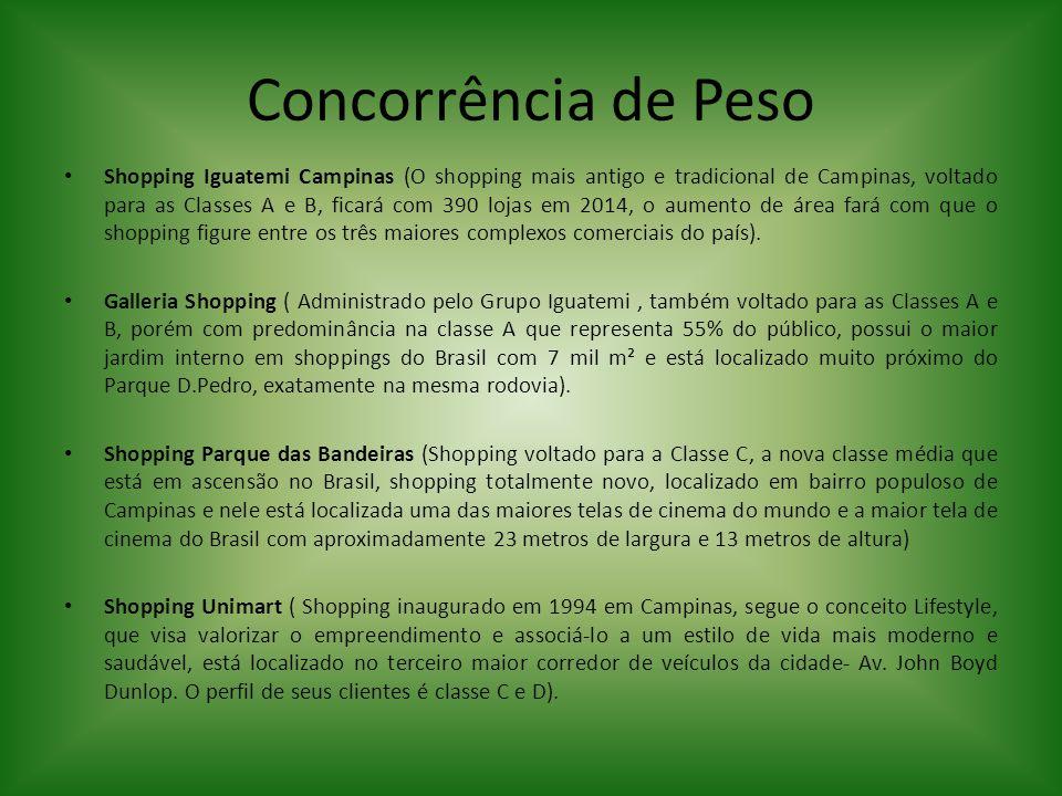 Concorrência de Peso Shopping Iguatemi Campinas (O shopping mais antigo e tradicional de Campinas, voltado para as Classes A e B, ficará com 390 lojas