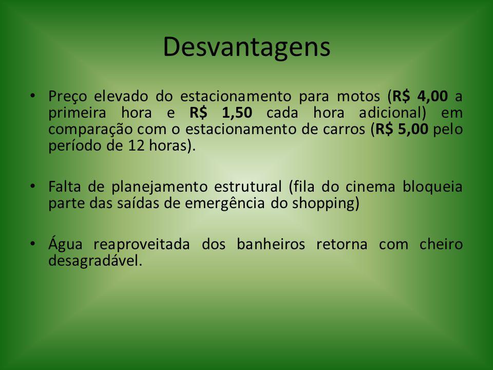 Desvantagens Preço elevado do estacionamento para motos (R$ 4,00 a primeira hora e R$ 1,50 cada hora adicional) em comparação com o estacionamento de