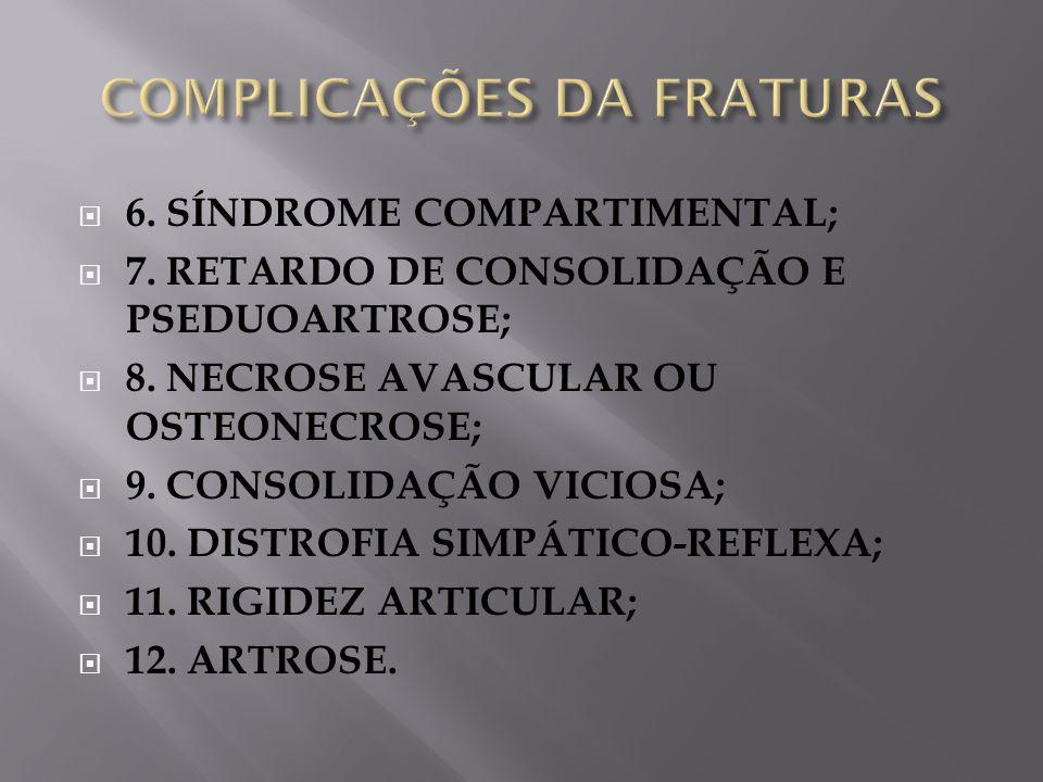 6. SÍNDROME COMPARTIMENTAL; 7. RETARDO DE CONSOLIDAÇÃO E PSEDUOARTROSE; 8. NECROSE AVASCULAR OU OSTEONECROSE; 9. CONSOLIDAÇÃO VICIOSA; 10. DISTROFIA S