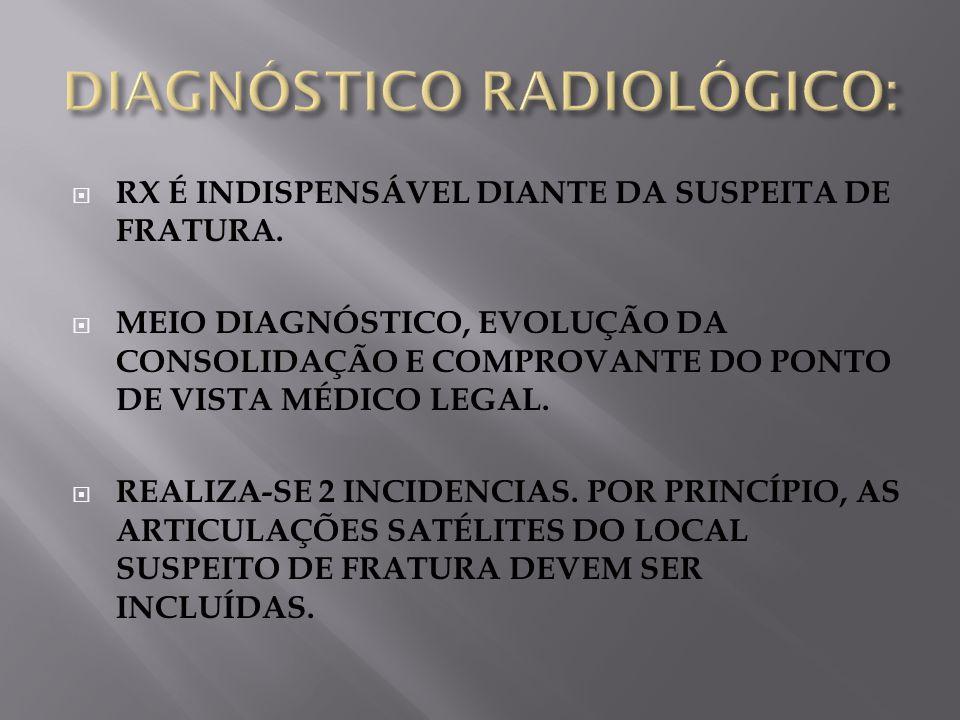RX É INDISPENSÁVEL DIANTE DA SUSPEITA DE FRATURA. MEIO DIAGNÓSTICO, EVOLUÇÃO DA CONSOLIDAÇÃO E COMPROVANTE DO PONTO DE VISTA MÉDICO LEGAL. REALIZA-SE