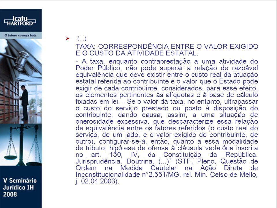 (...) TAXA: CORRESPONDÊNCIA ENTRE O VALOR EXIGIDO E O CUSTO DA ATIVIDADE ESTATAL.