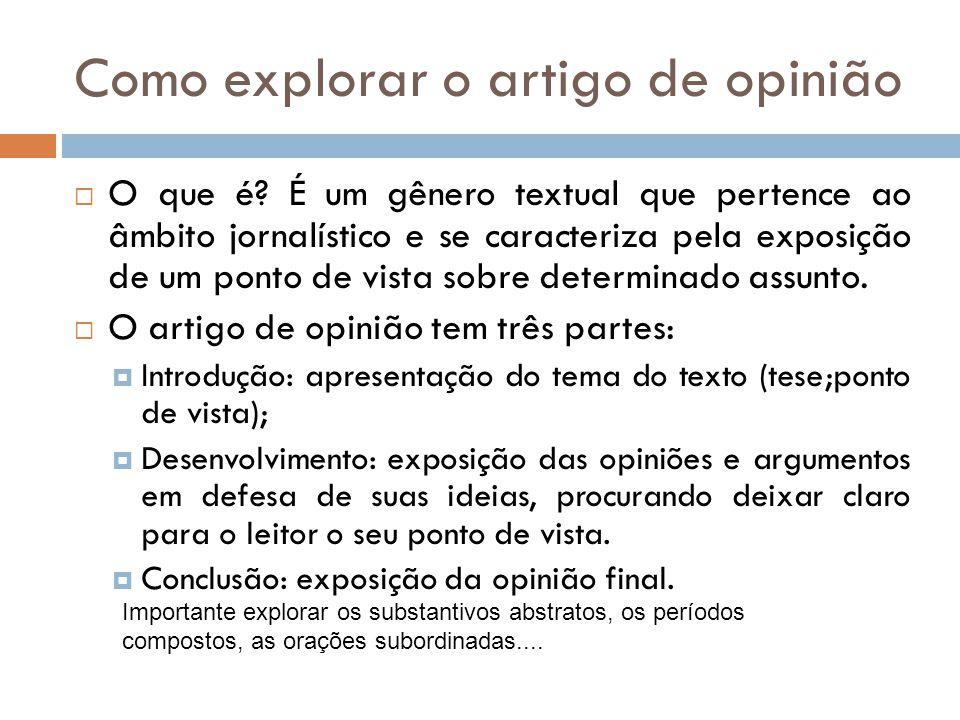 Como explorar o artigo de opinião O que é? É um gênero textual que pertence ao âmbito jornalístico e se caracteriza pela exposição de um ponto de vist