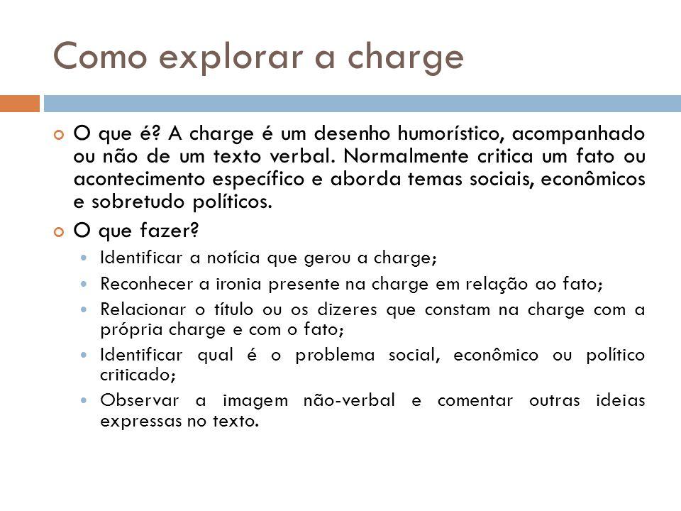 Como explorar a charge O que é? A charge é um desenho humorístico, acompanhado ou não de um texto verbal. Normalmente critica um fato ou acontecimento