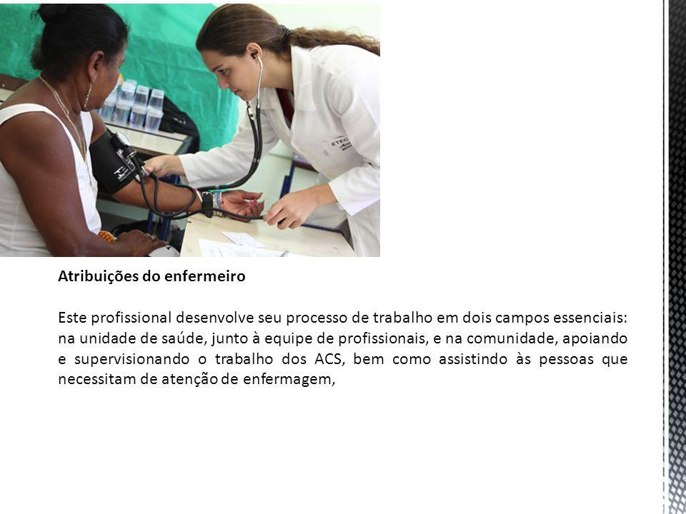 Atribuições do enfermeiro Este profissional desenvolve seu processo de trabalho em dois campos essenciais: na unidade de saúde, junto à equipe de profissionais, e na comunidade, apoiando e supervisionando o trabalho dos ACS, bem como assistindo às pessoas que necessitam de atenção de enfermagem,