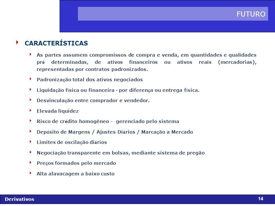 FIDC - Diagnóstico e Perspectivas Derivativos 14 CARACTERÍSTICAS As partes assumem compromissos de compra e venda, em quantidades e qualidades pr é determinadas, de ativos financeiros ou ativos reais (mercadorias), representadas por contratos padronizados.