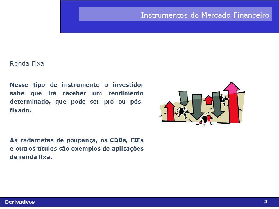 FIDC - Diagnóstico e Perspectivas Derivativos 4 Instrumentos do Mercado Financeiro Tipos de Ativos de Renda Fixa: Títulos da Dívida Interna: Federal, Estadual e Municipal Cédula de Debênture (CD) Certificado de Depósito Bancário (CDB) Depósito Interfinanceiro (DI) Recibo de Depósito Bancário (RDB) Cédula de Crédito Bancário (CCB) Debênture Export Note
