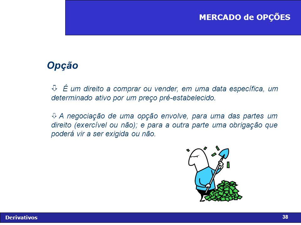 FIDC - Diagnóstico e Perspectivas Derivativos 38 Opção ò É um direito a comprar ou vender, em uma data específica, um determinado ativo por um preço pré-estabelecido.
