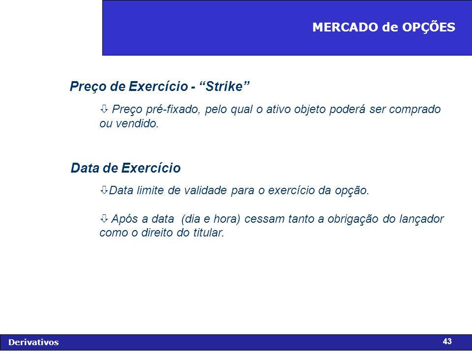 FIDC - Diagnóstico e Perspectivas Derivativos 43 Preço de Exercício - Strike ò Preço pré-fixado, pelo qual o ativo objeto poderá ser comprado ou vendido.