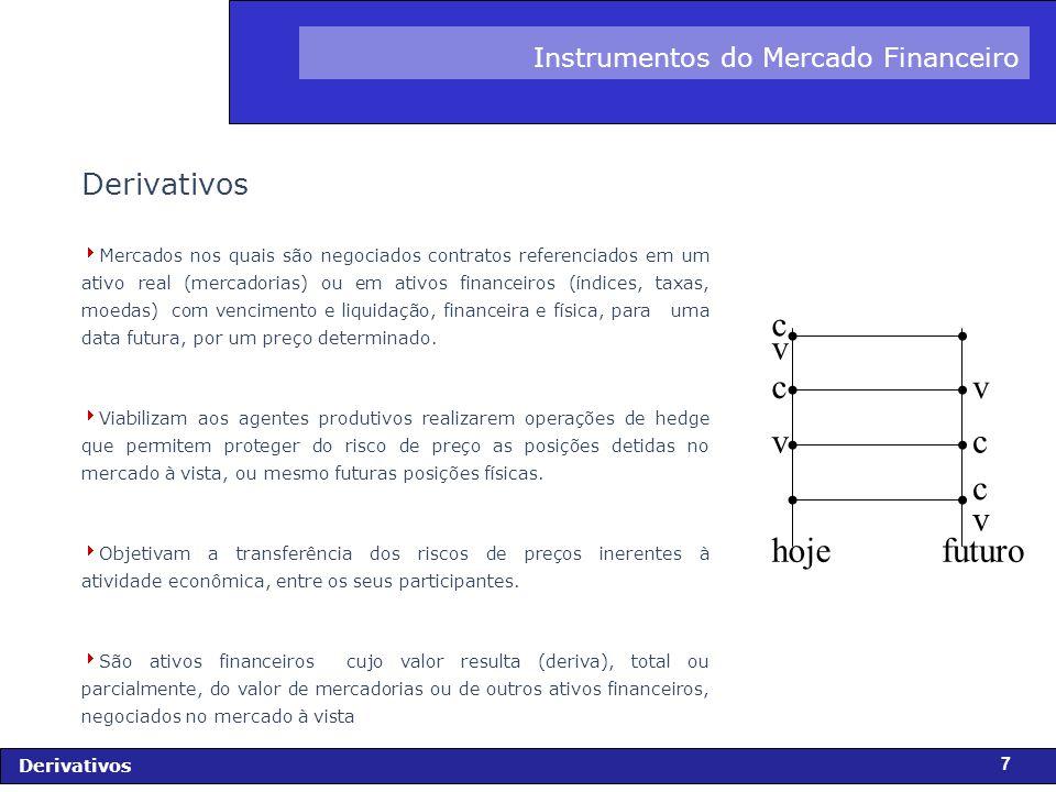 FIDC - Diagnóstico e Perspectivas Derivativos 28 Hedge :(Risco = 0 e Lucro = 0) Consiste em realizar uma ou mais operações que reduzam a exposição ao risco do implementador dessa(s) operação(ões) - Hedger.