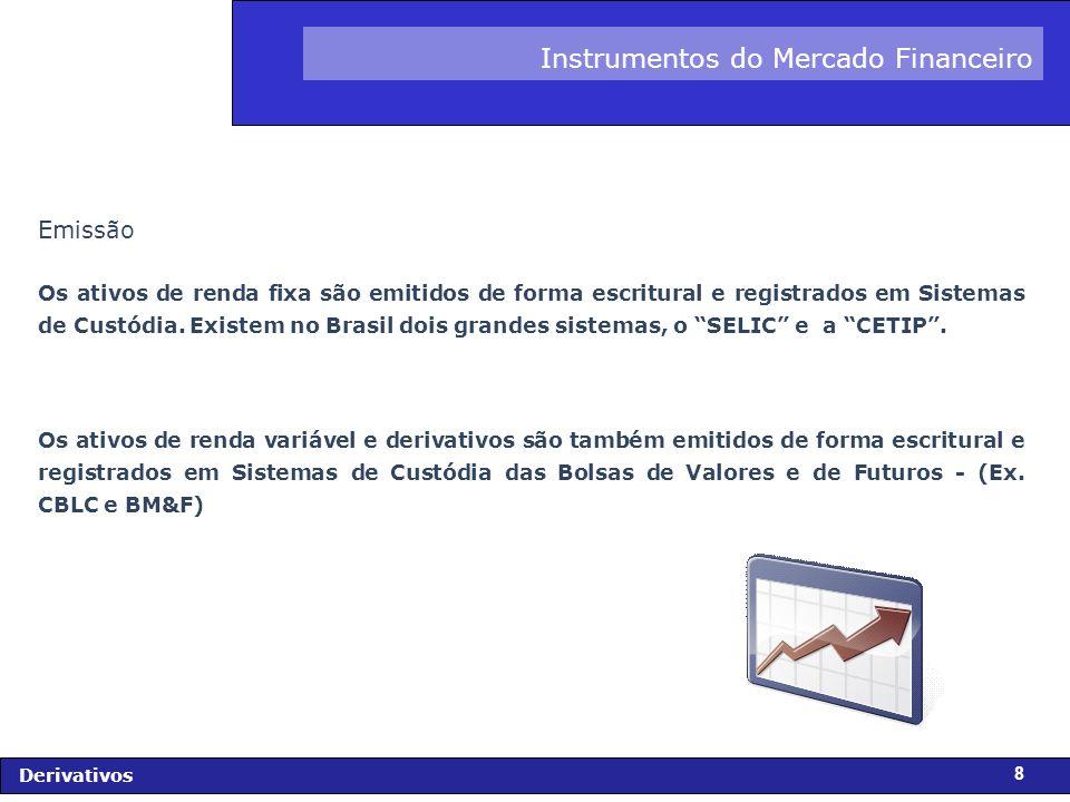 FIDC - Diagnóstico e Perspectivas Derivativos 9 Mercados Mercado de Balcão Organizado – ambiente de negociação acessível as instituições integrantes do sistema de intermediação.