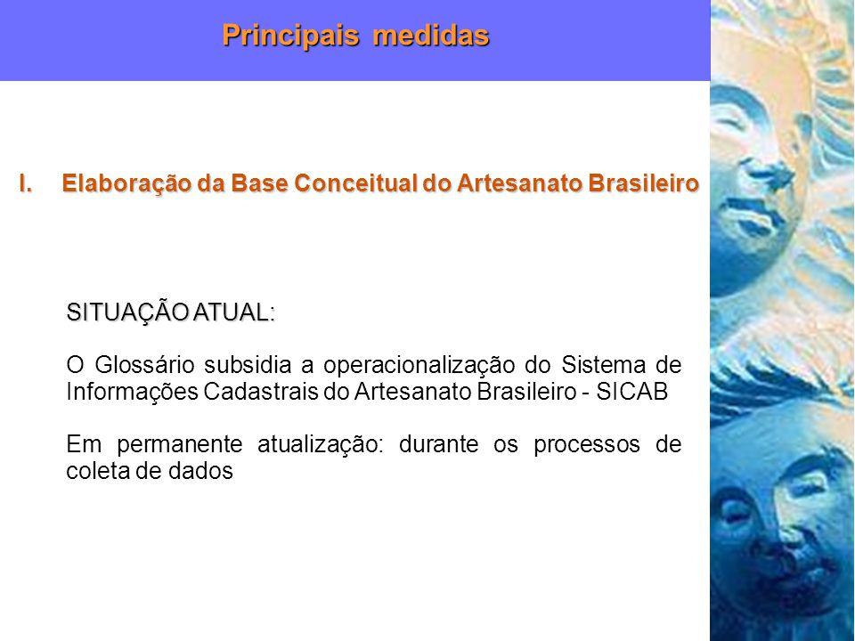 SITUAÇÃO ATUAL: O Glossário subsidia a operacionalização do Sistema de Informações Cadastrais do Artesanato Brasileiro - SICAB Em permanente atualizaç