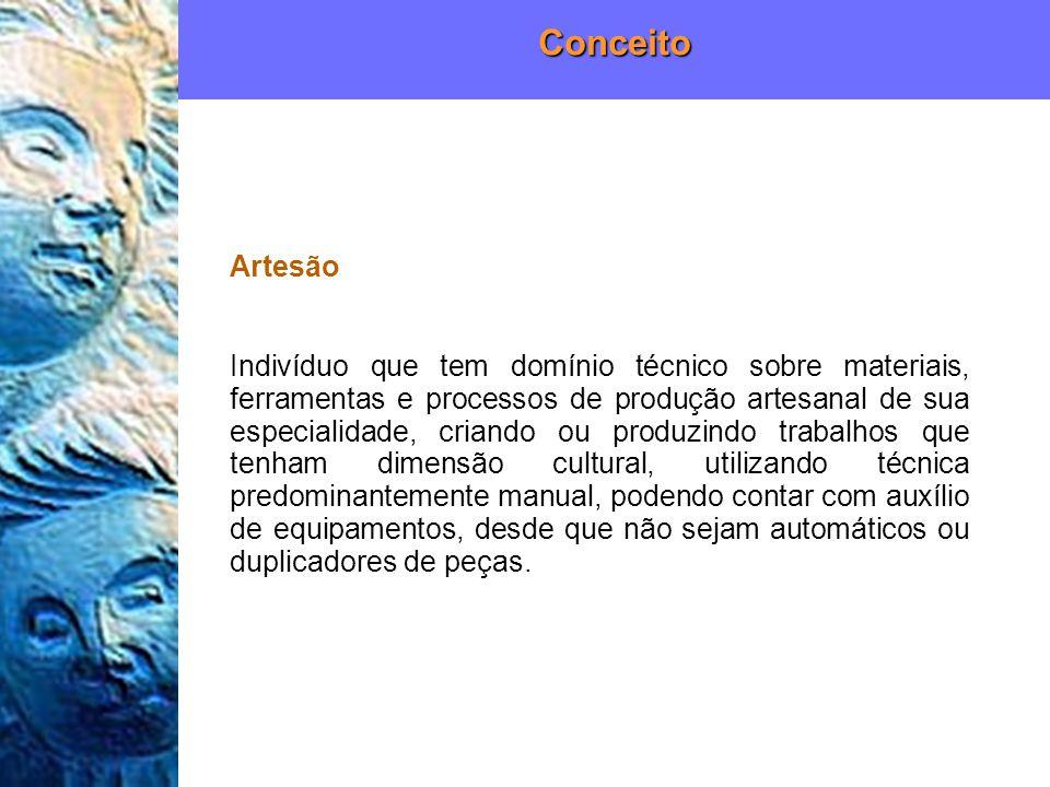 Artesão Indivíduo que tem domínio técnico sobre materiais, ferramentas e processos de produção artesanal de sua especialidade, criando ou produzindo t