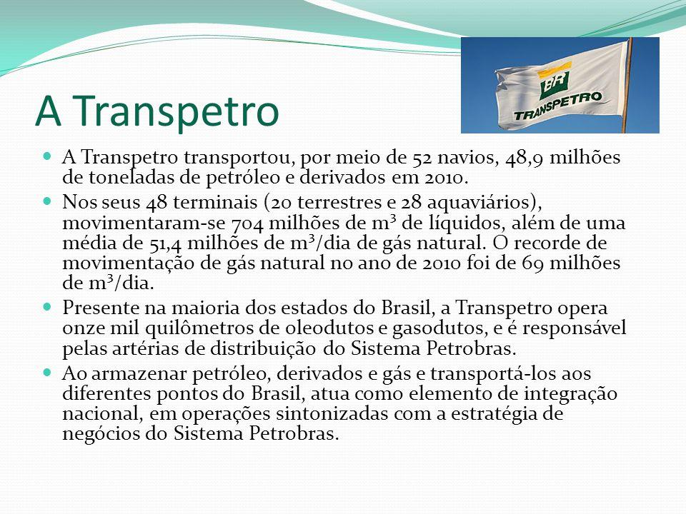 A Transpetro A Transpetro transportou, por meio de 52 navios, 48,9 milhões de toneladas de petróleo e derivados em 2010. Nos seus 48 terminais (20 ter