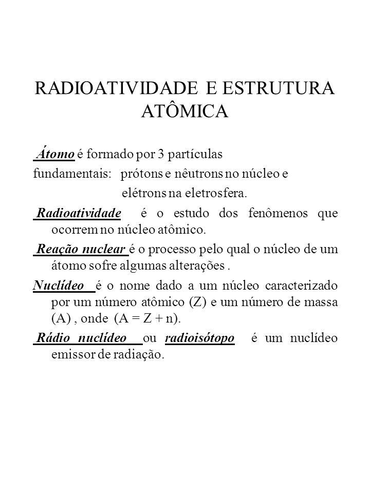 RADIOATIVIDADE E ESTRUTURA ATÔMICA Átomo é formado por 3 partículas fundamentais: prótons e nêutrons no núcleo e elétrons na eletrosfera. Radioativida